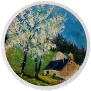 Spring In Hierges  Round Beach Towel