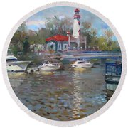 Spring In Lake Shore Round Beach Towel
