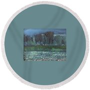 spring in Netherby Round Beach Towel