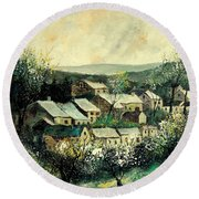 Spring In The Ardennes Belgium Round Beach Towel