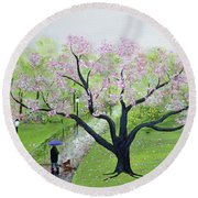 Spring In The Park Round Beach Towel