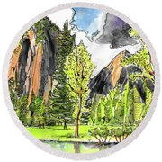 Spring In Yosemite Round Beach Towel