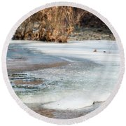 Spring Is Coming. The Ice Melts. Round Beach Towel