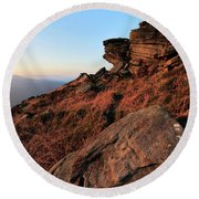 Spring Landscape, Gritstone Rock Formations, Stanage Edge Round Beach Towel