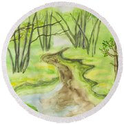 Spring Landscape, Watercolours Round Beach Towel