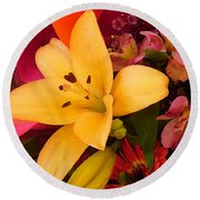 Spring Lily Bouquet Round Beach Towel