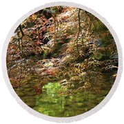 Spring Maple Leaves Over Japanese Garden Pond Round Beach Towel