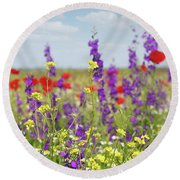 Spring Meadow With Flowers Nature Scene Round Beach Towel