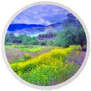 Spring Morning Along The Channel Parkway Round Beach Towel