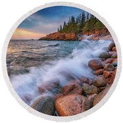 Spring Morning In Acadia National Park Round Beach Towel