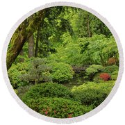 Spring Morning In The Garden Round Beach Towel