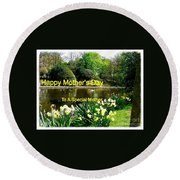 Spring Mother's Day Greeting Round Beach Towel