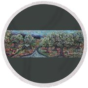 Spring Mountain Flowers Round Beach Towel