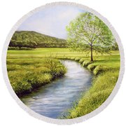 Spring On The Canal Round Beach Towel