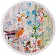 Spring On Wood 06 Round Beach Towel