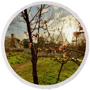 Spring Orchard In Williamsburg Round Beach Towel