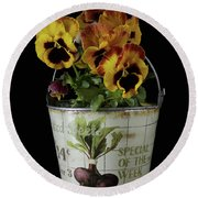Spring Pansy Flowers In A Pail Round Beach Towel