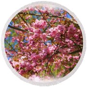 Spring Pink Blossoms Round Beach Towel