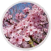 Spring Pink Tree Blossoms Art Print Baslee Troutman Round Beach Towel