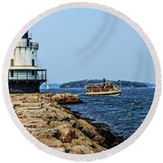 Spring Point Ladge Lighthouse - Maine Round Beach Towel
