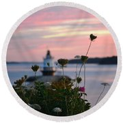 Pink Sky Flowers Round Beach Towel