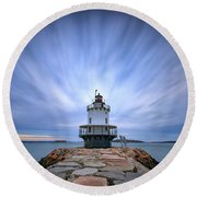 Spring Point Ledge Light Station Round Beach Towel
