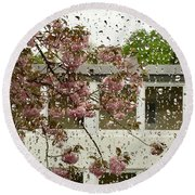 Spring Rain Outside The Window And Sakura Round Beach Towel