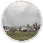 Spring Skies Over An Amish Farm Round Beach Towel