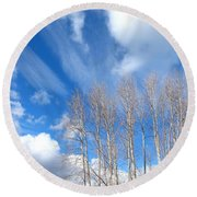 Spring Sky And Cotton Trees Round Beach Towel