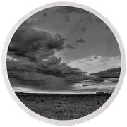 Spring Storm Front In Black And White Round Beach Towel