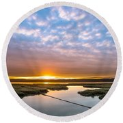 Spring Sunrise On Arcata Bay Round Beach Towel