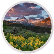Spring Sunset In The Tetons Round Beach Towel