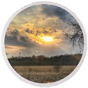 Spring Sunset  Round Beach Towel