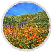 Spring Superbloom In Walker Canyon Round Beach Towel