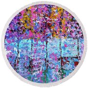 Spring Time In The Woods Abstract Oil Painting Round Beach Towel