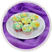 Spring Time Is Cupcake Time Round Beach Towel