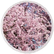 Spring Trees Art Prints Pink Springtime Blossoms Baslee Troutman Round Beach Towel