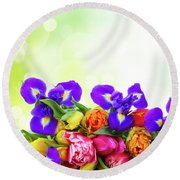 Spring Tulips And Irises Round Beach Towel