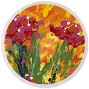 Spring Tulips Triptych Panel 1 Round Beach Towel