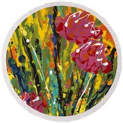 Spring Tulips Triptych Panel 2 Round Beach Towel