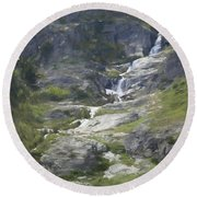 Spring Waterfall In The Tetons Round Beach Towel