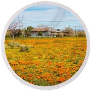 Spring Wildflower Farm Round Beach Towel