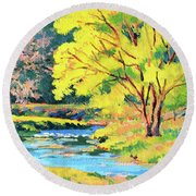 Spring Willow Round Beach Towel