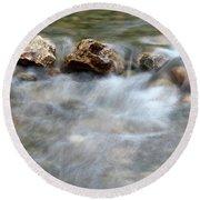 Spring With Rocks Nature Scene Round Beach Towel