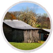 Spring Woods And Barn Round Beach Towel