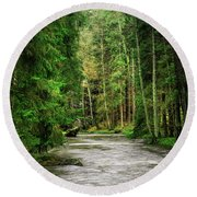 Spring Woods Greenery Round Beach Towel