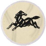 Springend Paard Met Het Hoofd Naar Achteren Gedraaid Round Beach Towel