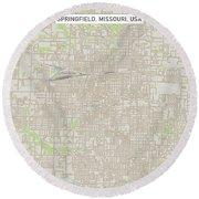 Springfield Missouri Us City Street Map Round Beach Towel