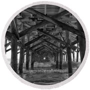 Springmaid Pier In Myrtle Beach South Carolina Round Beach Towel