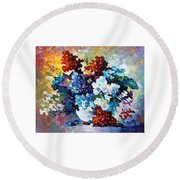Springs Smile - Palette Knife Oil Painting On Canvas By Leonid Afremov Round Beach Towel